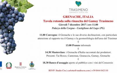 PRIMA EDIZIONE DI GRENACHE, ITALIA:  IL GAMAY DEL TRASIMENO PRONTO A STUPIRE